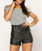 Fashion Nova Off Shoulder Stretchy Casual Black White Stripe Crop Top Small S