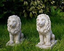 PAIR OF SMALL PROUD LIONS Stone Bespoke Handmade Garden Patio Statue Pillar Caps