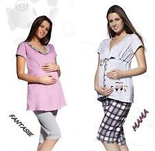 Umstandsmode Schlafanzug 2-tlg Pyjama Umstandskleidung kurzarm NEU Baumwolle