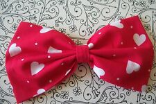 "HANDMADE 5"" RED WHITE LOVE HEART COTTON FABRIC BOW HAIR CLIP ROCKABILLY RETRO"