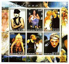"Madonna 2006 Du Benin Stamp Sheet #2 ~ 5"" x 6"" - Sexy Photos; French Kiss Sheet"