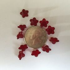 50 pcs Frosted Dark Red Wine Tiny Five Petal Acrylic Flower Beads