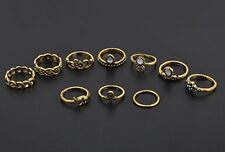 10PCS Knuckle Ring Set Gold Tone Different sizes Elephant White Crystal gd RST04