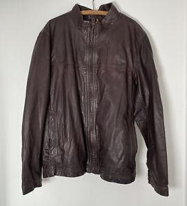 TIMBERLAND Dark Brown Cow Leather Jacket Zip Up Heavy Check Lining 3XL XXXL