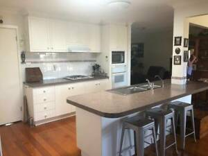 For sale: Kitchen cupboards with shelving and appliances, including sink, mixer.