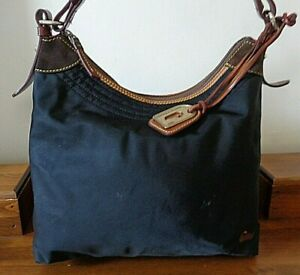 DOONEY& BOURKE black nylon hobo style shoulder bag with brown leather trim