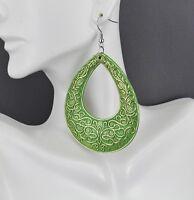 Gold Green teardrop earrings big huge giant lightweight dangle scroll oval