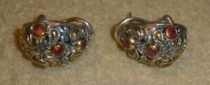 BJC Sterling Earrings with Gold Accents, Leverbacks + Red Stones - 13.8 gm