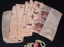 USA 10x58 VinTage Silk Scarf Asian Cranes Swallows Peach Brown Taupe