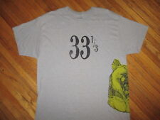 33 1/3 CONCERT T SHIRT Toledo Ohio Indie Rock Band rpm Bear Caricature Gray XL