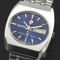 VINTAGE RADO TRIDENT 300 DAY DATE AUTOMATIC BLUE DIAL MEN`S DRESS  SWISS WATCH