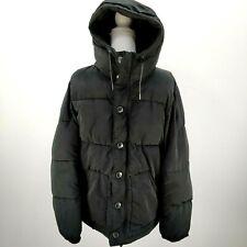 H&M L.O.G.G. Men's Size M Black Puffer Parka Coat Jacket Winter Hooded Pockets