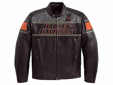 Harley Davidson Men's Rumble Colorblocked B&S Black Leather Jacket XL 98056-13VM