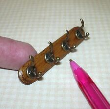 Miniature Walnut Wall Coat Rack, 4 HOOKS: DOLLHOUSE Miniatures 1:12 Scale