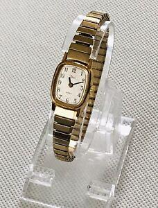 Ladies Timex BA Cell  Quartz Watch - New Battery - Gold Tone Stretch Bracelet