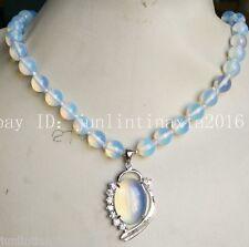 New 10mm White Moonstone Opal Gemstone Pendant Beads Necklace 18''