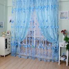 Blue Tulip Floral Elegant Tulle Voile Door Window Curtain Drape Sheer Valances