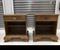 Ethan Allen Nutmeg Maple Colonial  Style Heirloom Nightstands - Pair # 10 -5306