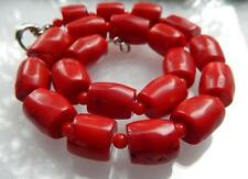 Natural New Vintage Estate Chunky Red Coral Barrel Bead Necklace 18'' AAA