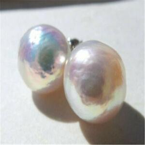 14-15mm huge white Baroque South Sea pearl earring AAAA Fine diy delicate