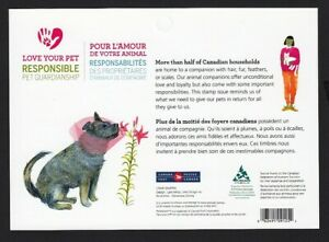 LOVE YOUR PET = DOG, CAT = BACK BOOKLET PAGE = Canada 2015 #2830-2834