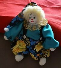 18 cm Clown Künstlerpuppe Harlekin in grünem Anzug ca Porzellanpuppe