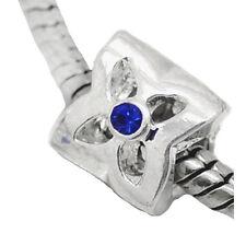 September Birthstone Blue Rhinestone Threaded Bead fits European Charm Bracelets