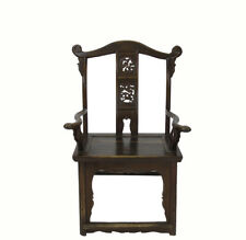 Antique Chinese Official Hat Armchair with Carved Back