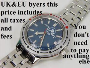 Vostok Amphibia 420059 Watch Scuba Dude Military Diver Russian Automatic Blue EU