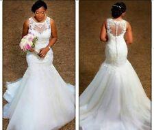 UK White/ivory Lace sleeveless Mermaid African Wedding Dress Bridal Sizes 6-18