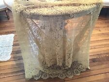 Antique Vtg French? Net Lace Victorian Old Scalloped Edge Flowers Tambour Old