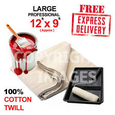 5 X LARGE DUST SHEETS 100% COTTON TWILL (12FT X 9FT )  * HIGH QUALITY *