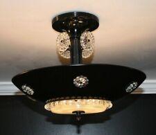 Antique black aluminum frosted glass Art Deco light fixture ceiling chandelier