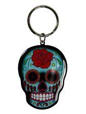 "Sunny Buick Trendy Rose Sugar Skull Metal KEYCHAIN Keyring 1.75"" x 2.5"" NEW"