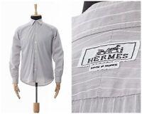 Mens HERMES Paris Button Down Shirt Long Sleeve Striped Grey Size L