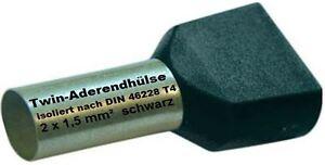 Twin Wire Ferrules 2 X 1,5 MM ² Wire End Ferrules Double Tinned Black