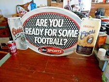 "Coors Beer Sign Abc Football Original and Coors Light 28""w x 16""h"