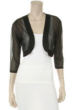 Black Sheer Bolero Chiffon 3/4 Length Sleeve  Bolero Jacket * New *3Xlarge
