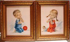 Constanza Armengol – Boy and Girl Praying – Big Eyes – Vintage Framed Prints