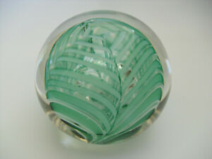 """Liskeard Glass Green & White Marbrie Style Bubbled Paperweight - 3""""(>7.5cms)"""