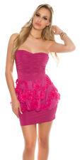 H345 KouCla Minikleid mit Schößchen Spitze Bandeau Cocktailkleid Kleid 34/36/38