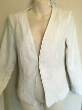 H&M WHITE SMART SEQUIN JACKET BLAZER BNWT 14 PARTY RACES WEDDING LINED GLAM