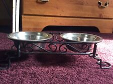 Double Bowl Dog Cat Feeder Elevated Stand Raised Dish Feeding Food Water Tray
