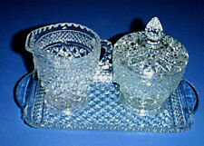 WEXFORD Glass Creamer Pitcher, Sugar Bowl with Lid, & Cranberry Tray Set - MINT