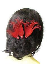 3 X Red Silver Peacock Feather Hair Pins Bridesmaid Headpiece Vtg Bridal 1640
