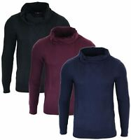 Mens Roll Neck Knitted Smart Casual Pullover Jumper Top Warm Winter Light