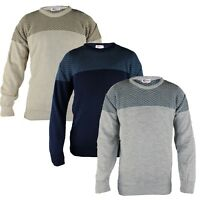 Mens Stylish Crew Neck Knitted Jumper Sizes M-XL Sweater with Textured Pattern