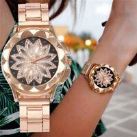 Rose Gold Crystal Flower Women Watches Ladies Quartz Stainless Steel Mesh Watch
