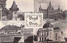 SELTEN 4 - Foto AK + Leporello 1957@Gruß aus Graz@Restaurant Schloßberg Uhrturm
