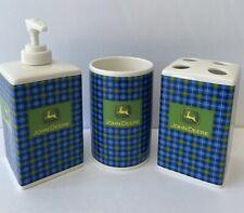John Deere Toothbrush Holder Lotion/Soap Dispenser Rinse Cup - Plaid - Bathroom